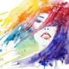illustration of woman's face with hair blowing, watercolor illustration