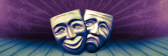 Drawing of comedy and tragedy masks.