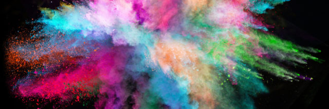 Colorful rainbow powder explosion.
