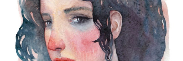 A watercolor image of a woman staring straight ahead.