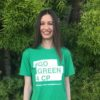 Kelly wearing a Go Green for CP t-shirt.