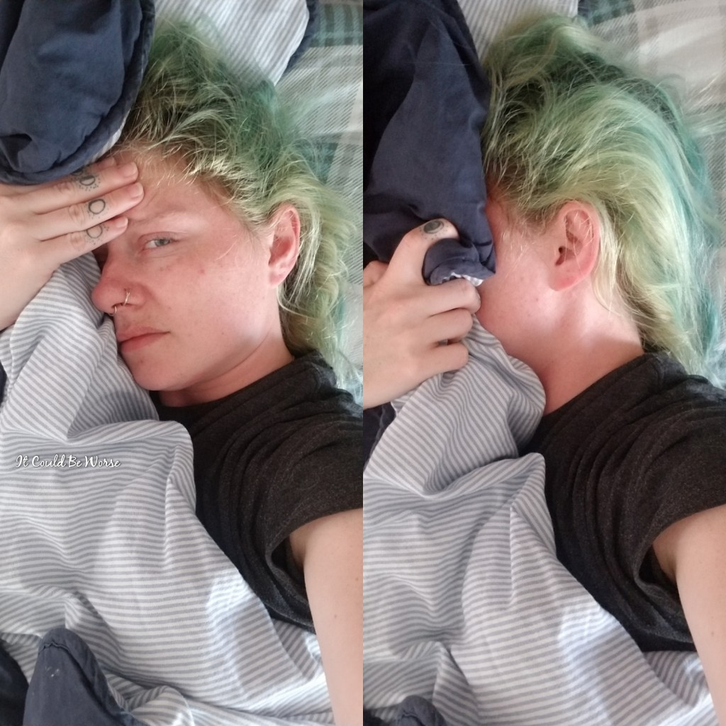 photo of contributor, woman with green dyed hair with hand to head and face covered by pillow. in one photo, she is looking up at camera painfully.