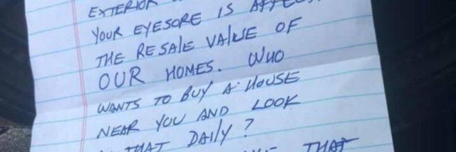 note telling randa ragland to clean up her yard