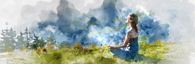 Painting of a young woman sitting in a green field meditating