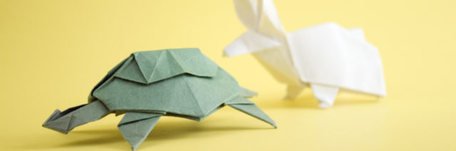 Origami tortoise and hare.