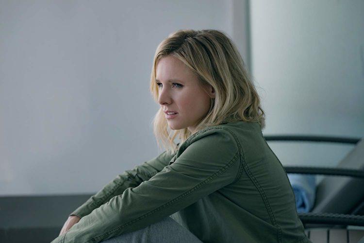 Kristen Bell in green jacket profile