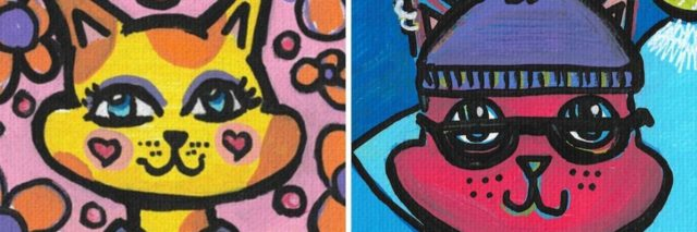Margaux Wosk's artwork, two cat paintings in bright colors