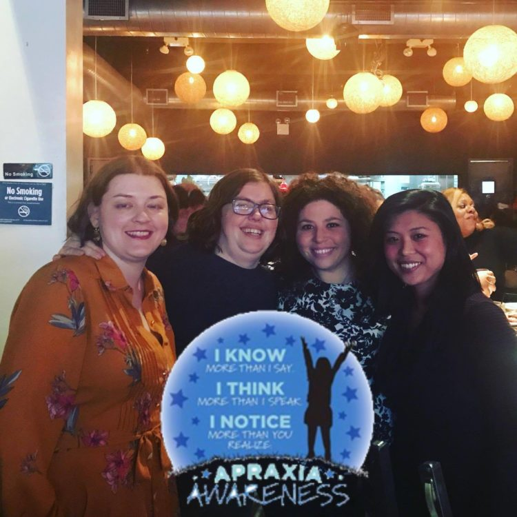 A group of women at an apraxia event