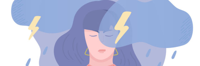 cartoon of a sad woman with purple hair and a pink sweater with rain clouds and lightning above her head