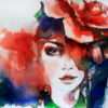 watercolor of a woman's face with red and blue and green colors surrounding