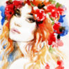 A watercolor painting of a woman staring into the camera with flowers in her hair.