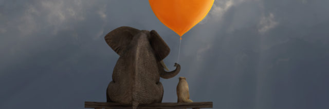 Painting of an elephant and a dog sitting on a bench on a cloudy day. Elephant is holding and big orange heart shaped balloon above the dog's head