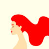 An illustration of a woman with long red hair