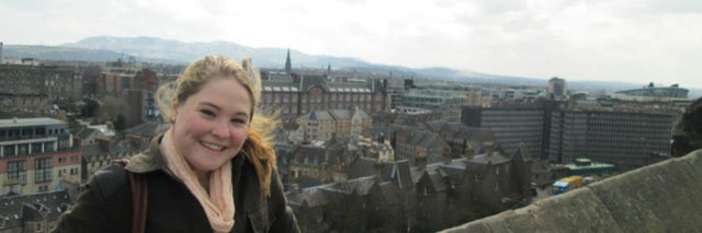 Maisy overlooking Edinburgh Scotland.