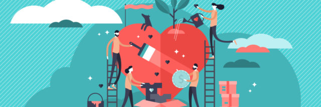 illustrated picture of many people working together and building a heart