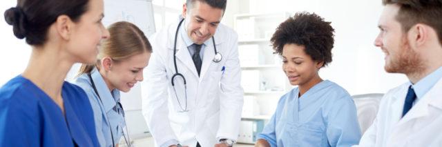 Doctors meeting to discuss patient care.