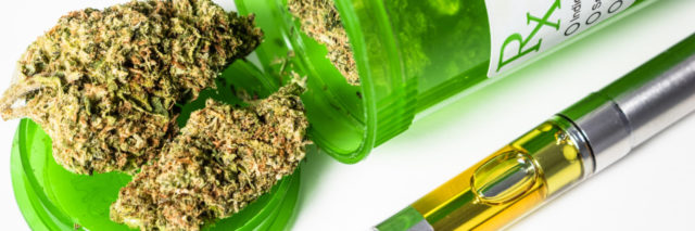 Medical marijuana buds and vape cartridge.