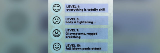 graphic of the scale described in the article, emojis of level 1, 3, 7 and 10 and short description