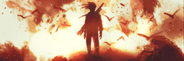 illustration of person standing in fire, silhouetted with flock of birds, a weapon across their back