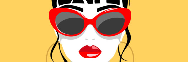 Drawing of a woman with sunglasses.