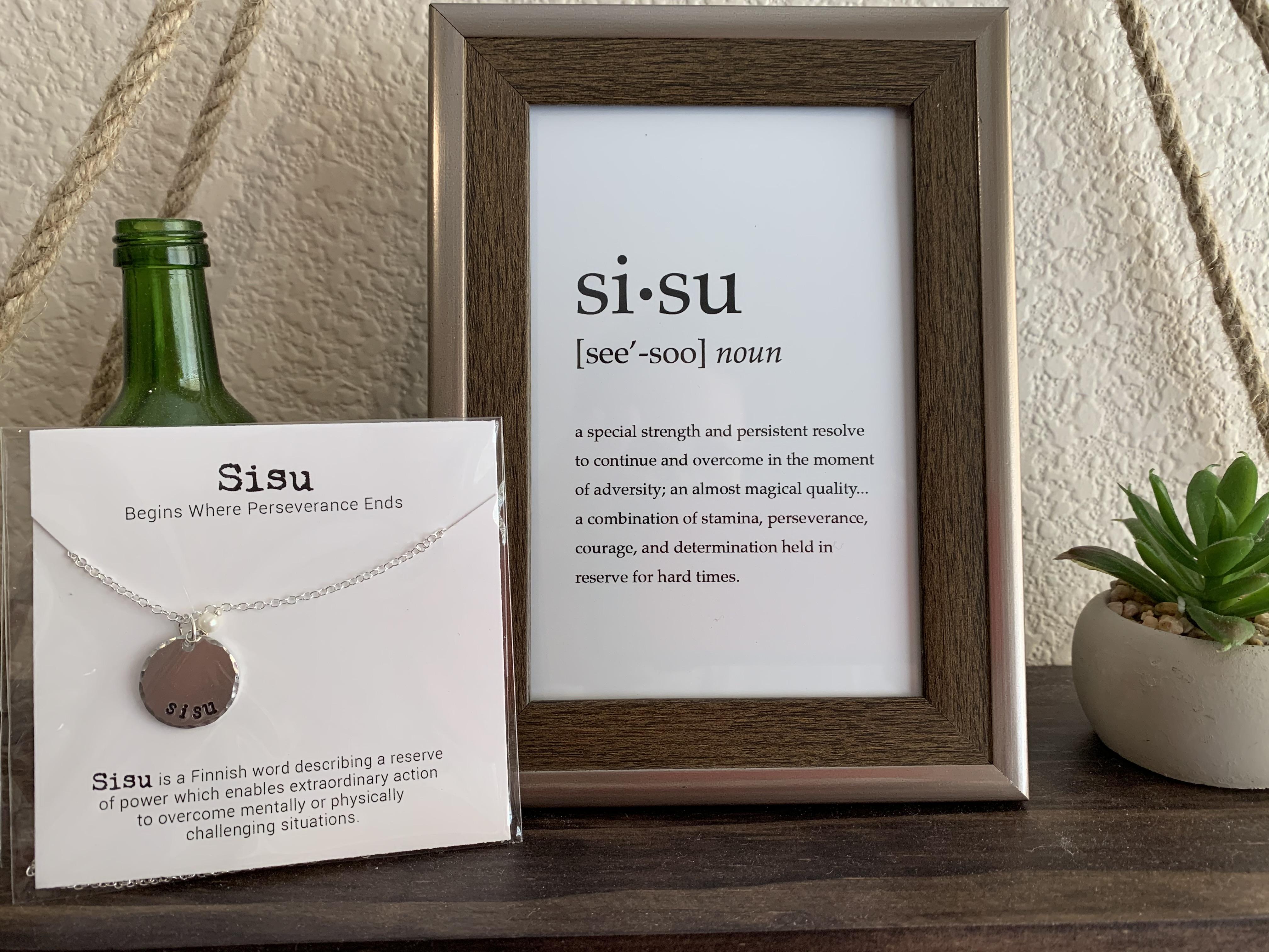 Sisu necklace and print.