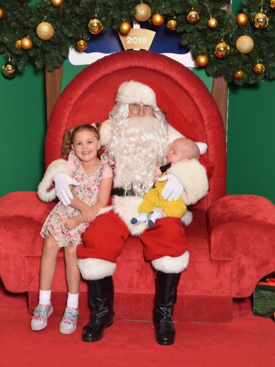 Santa and the author's two children