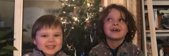 Jeremy's sons in front of the Christmas tree.