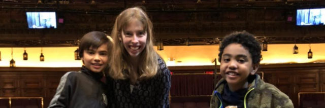 "Emily meeting Sebastian and Jai, stars of ""A Christmas Carol"" on Broadway in 2019."