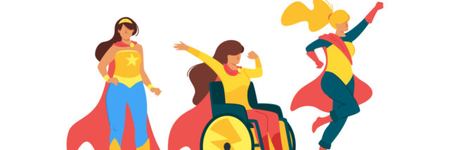 Superhero women including one in a wheelchair.