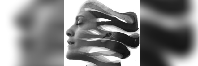 Paintography double exposure of woman's profile separated into flowing pieces