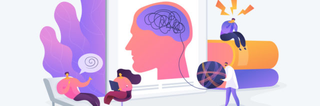 illustration of a counseling session on the left, a clipboard of the human brain in the middle and a person sitting on top of a stack of books on the right