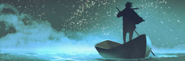 watercolor of a person standing in a canoe paddling into the waves with stars lining the sky