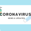 Illustration of soap and a face mask. Text reads: coronavirus news and updates.