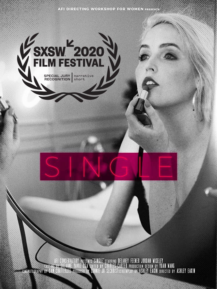 """""""Single"""" movie poster -- young woman getting ready for a date."""