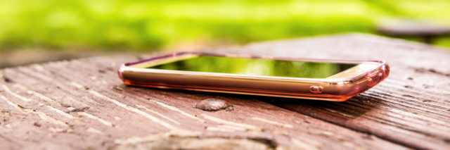 Lost iPhone on picnic table.