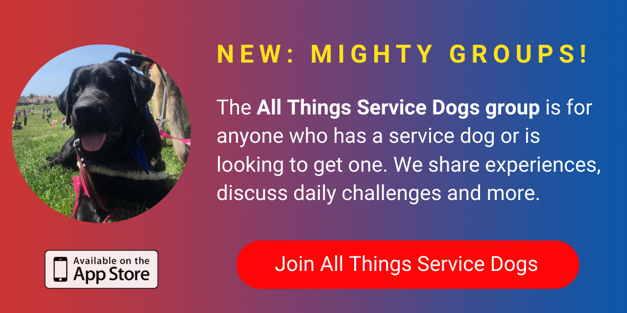 A banner promoting The Mighty's new All Things Service Dogs group on The Mighty mobile app. Click to join.