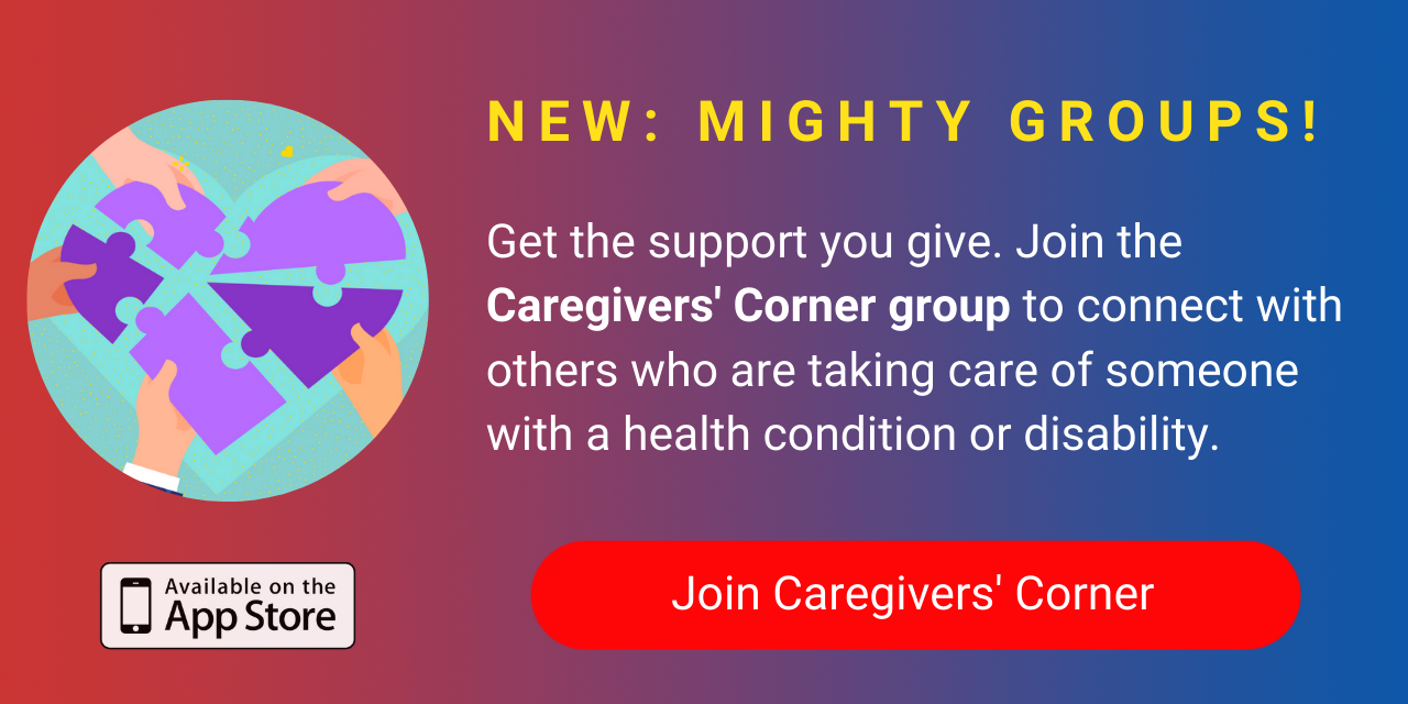 A banner promoting The Mighty's new Caregivers' Corner group on The Mighty mobile app. Click to join.