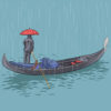 a man on a boat in the rain