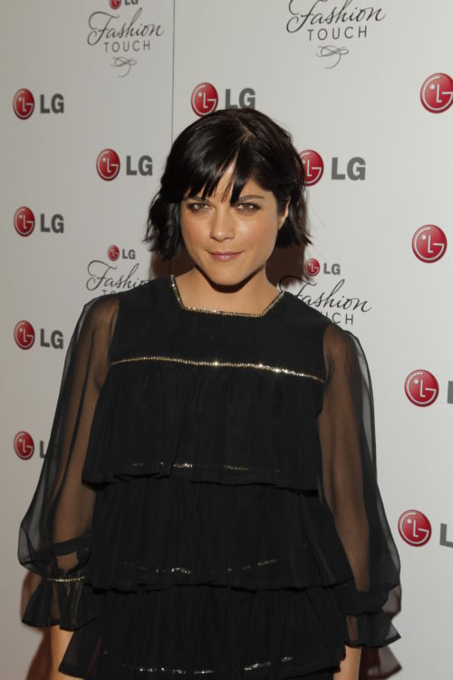 Selma Blair in a black dress on the red carpet