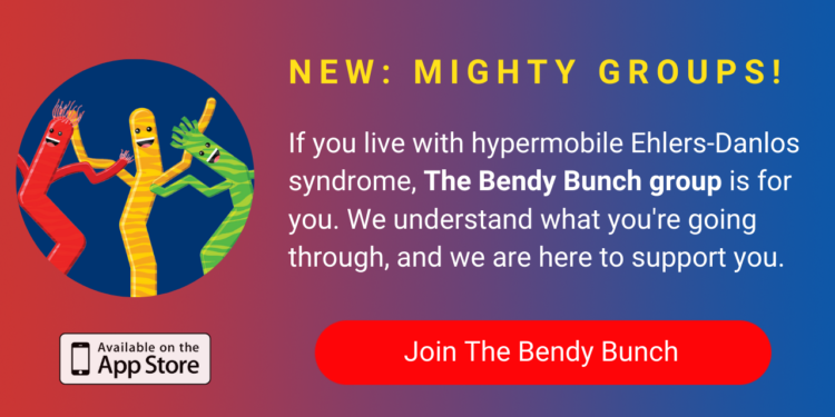 A banner promoting The Mighty's new Bendy Bunch group on The Mighty mobile app. The banner reads, If you live with hypermobile Ehlers-Danlos syndrome, The Bendy Bunch group is for you. We understand what you're going through and we are here to support you. Click to join.