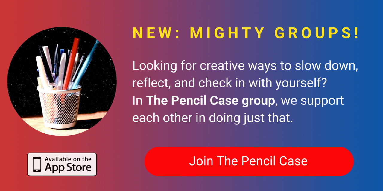 A banner promoting The Mighty's new The Pencil Case group on The Mighty mobile app. Click to join.