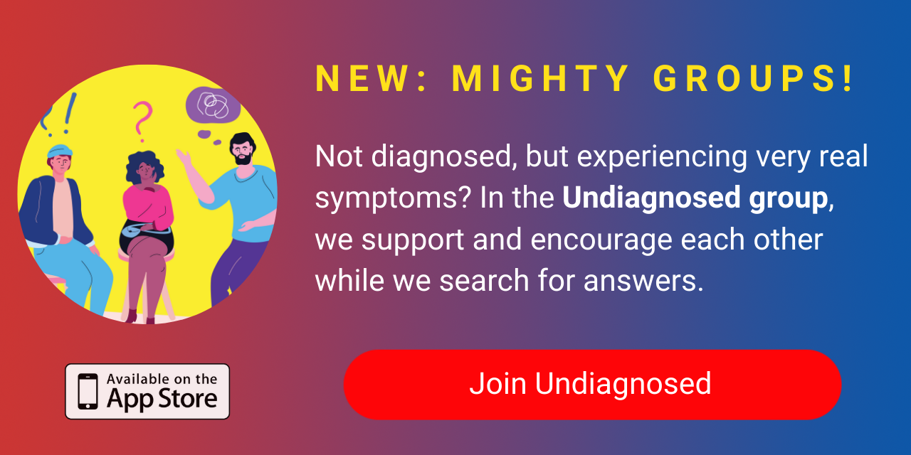 A banner promoting The Mighty's new Undiagnosed group on The Mighty mobile app. Click to join.
