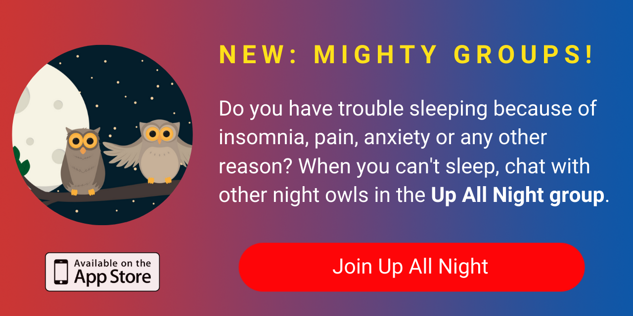 A banner promoting The Mighty's new Up All Night group on The Mighty mobile app. Click to join.