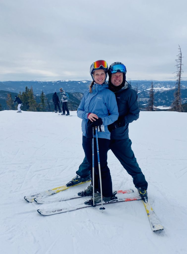 photo of contributor and family while skiing
