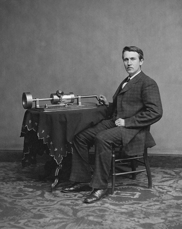 Photo of young Edison and phonograph