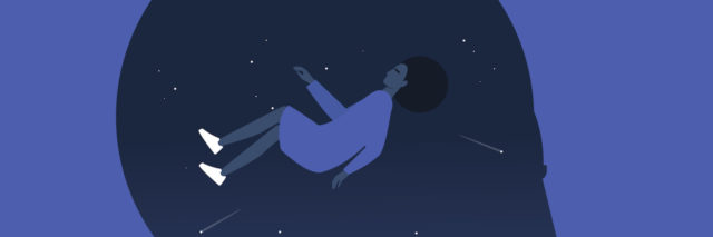 "An illustration of a black woman ""falling"" in a black space background"
