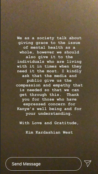 Kim Kardashian statement about Kanye West's mental health