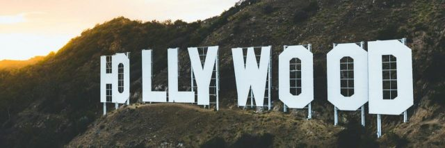 Image of the Hollywood sign on a mountain