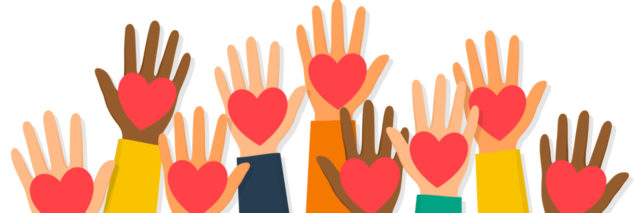 Illustration of diverse set of hands raised holding hearts
