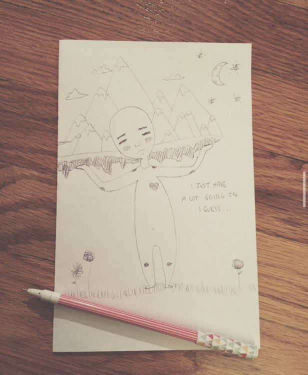 """drawing of a person holding up mountains with the text """"I just have a lot going on I guess"""""""